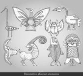 dekorative abstrakte Elemente. abstrakte Gegenstände zur Dekoration auf grauem Hintergrund. Vektor-Illustration im Retro-Stil