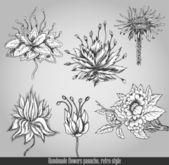 ručně vyráběné květiny švih. vektorové ilustrace v retro stylu