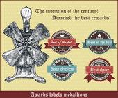 vynález století. ocenění nejlepší rewards.awards popisky medailonky. retro vektorové ilustrace