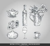 Vector set of kitchen ware. Teapot, bottle, vase, glass,cup. Retro style