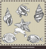 Set of sea fish,seashell and starfish. Retro style vector illustration. Isolated on grey background