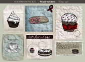 Kávé és sütemény beállítása. Régi papír címke vektoros illusztráció. Vintage stílusú