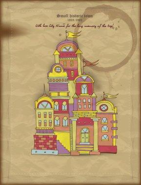 Small historic town illustration stock vector