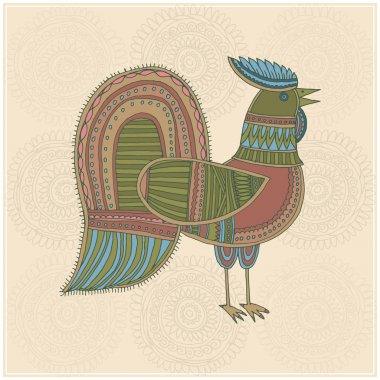 Cock in ethnic style stock vector