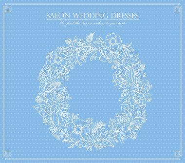 Salon wedding dress illustration,flower frame stock vector