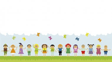 Vector illustration of children standing in a row on the green field. Copyspace with clouds and butterflies stock vector