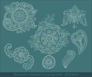 Decorative floristic elements in vintage style. Vector illustration stock vector