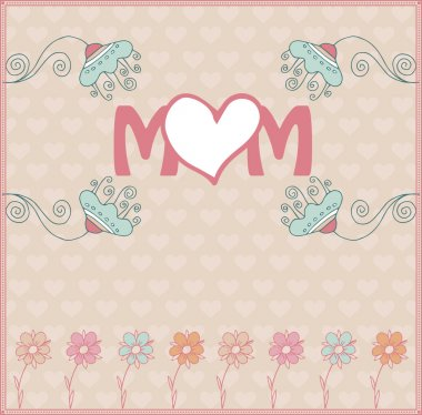 Mother's day greeting card with spring flowers. Vector illustration stock vector