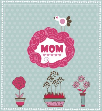 Mother's day greeting card with spring bird and flowers. Vector illustration stock vector