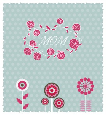 Greeting card for the Mother's day. Vector image with spring flowers stock vector