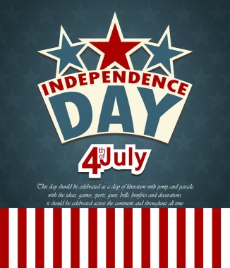 USA independence day banner with US flag. Vector illustration stock vector