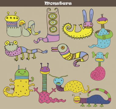 Set of multicolored cartoon monsters against grey background. Vector image stock vector