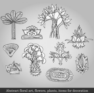Abstract floral art, flowers, plants, items for decoration on gray background. Vector illustration in retro style stock vector