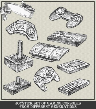 Joystick set of gaming consoles from different generations. Vector sketch illustration stock vector