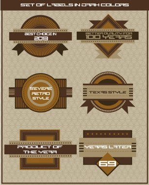 Set of dark brown shop labels. Vector illustration in retro style stock vector