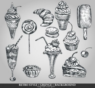 Ice cream and cake set. Hand drawing sketch vector illustration. Retro style