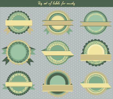 Big set of labels for candy. Vector illustration in retro style stock vector
