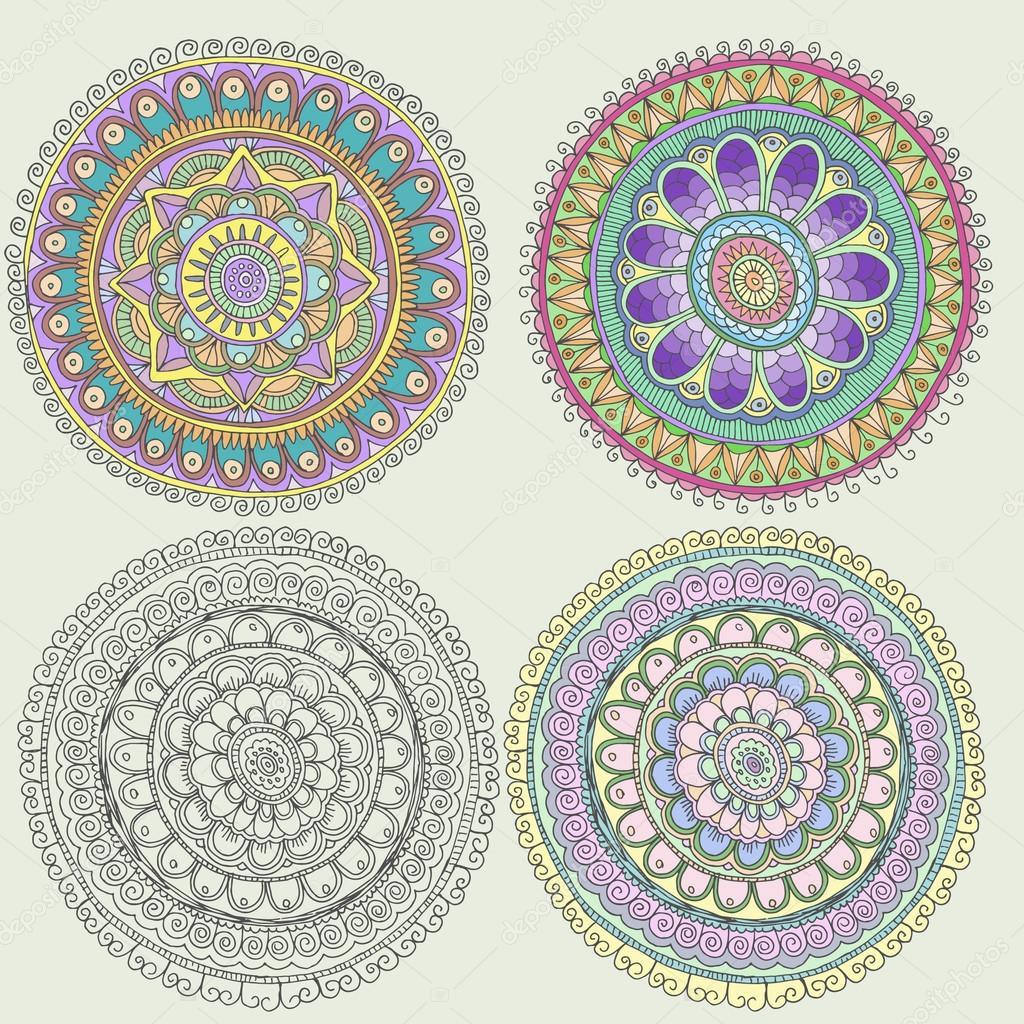 Set of traditional circled folk ornaments stock vector
