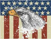 Orel na pozadí vlajky usa. Vintage styl. vektorové ilustrace
