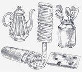 sada prvků pro čaj. Vintage styl