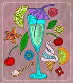 Cocktail und verschiedene Früchte. Vektorillustration