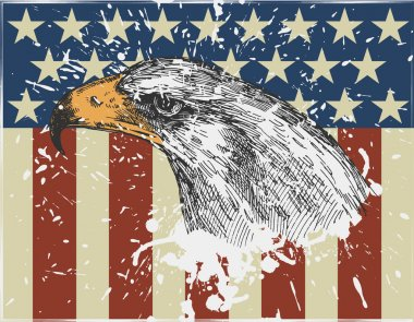 Eagle on usa flag background. Vintage style. vector illustration stock vector