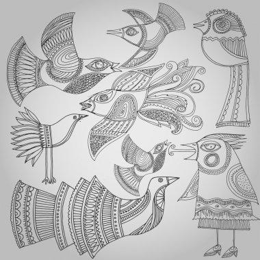 Set of fantastic birds in folk style. Vector illustration stock vector