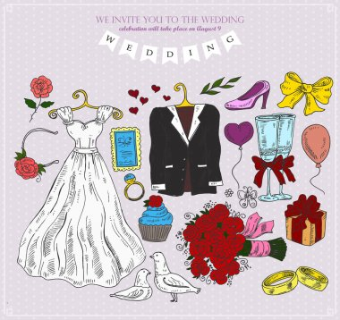 Set of wedding attributes. Vector illustration stock vector