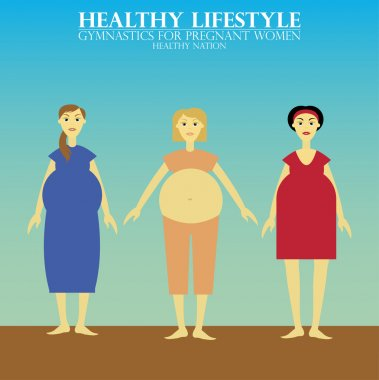 Gymnastics for pregnant women. Vector Image of three excercising pregnant ladies. stock vector