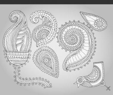 Fantastic flowers in folk style. Vector illustration stock vector