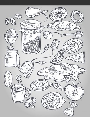 Various food in vintage style stock vector