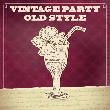 Vintage party poster with cocktail stock vector