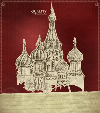 Vintage quality label with Saint Basil Cathedral in Moscow stock vector
