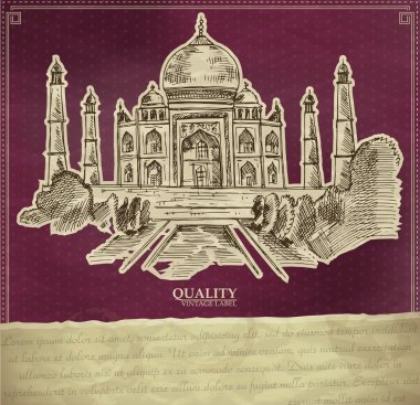Vintage qualuty label with indian Taj Mahal. stock vector