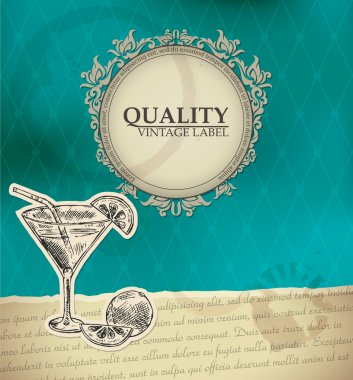 Vintage quality label with cocktail stock vector