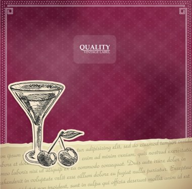 : Vintage quality label with cocktail stock vector
