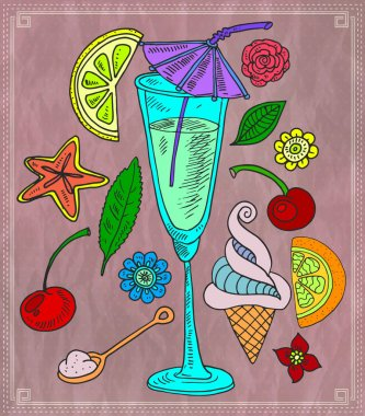 Cocktail and various fruits. Vector illustration stock vector