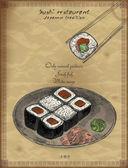 Vintage Poster für ein japanisches Restaurant. Retro-Vektorhintergrund mit Sushi-Rollen.