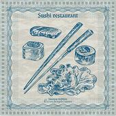 ročník sushi restaurace nápis. vektorové ilustrace