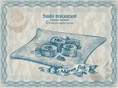Vintage Sushi Restaurant Banner. Vektorillustration.