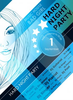 Night party design poster with fashion girl stock vector