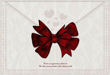 Vector letter background with red bow stock vector