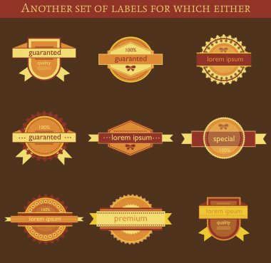 Retro vector labels and badges on brown background stock vector