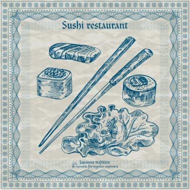 Vintage sushi restaurant afiş. vektör çizim