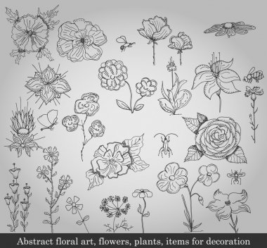 Abstract floral art, flowers, plants, items for decoration on gray background stock vector