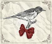 ročník karta s ptákem a červenou stuhu