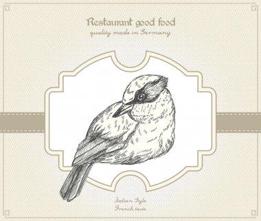 Retro style restaurant card with bird stock vector