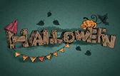 vektor halloween felirat elszigetelt sötétzöld