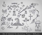 různé dekorativní prvky pro halloween. vektorové ilustrace
