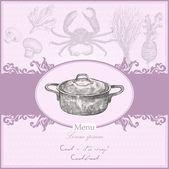 Vintage menü kiterjed a kondér. vektoros illusztráció